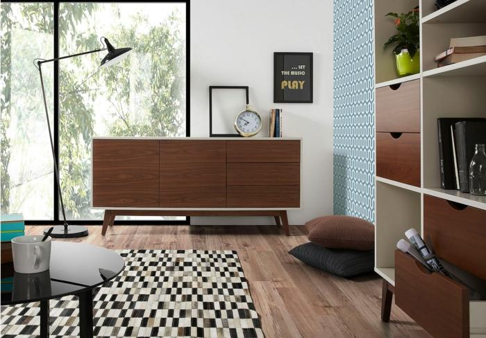 retro möbel 50er jahre stil wohnzimmer kommode stehlampe regale teppich parkett