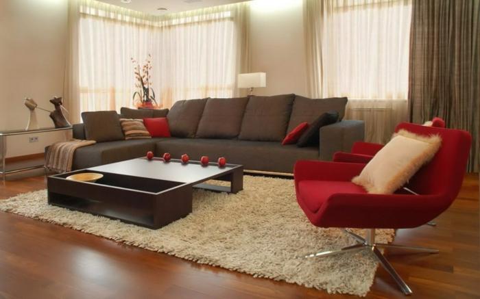 roter sessel wohnzimmer einrichten weier teppich - Sessel Wohnzimmer