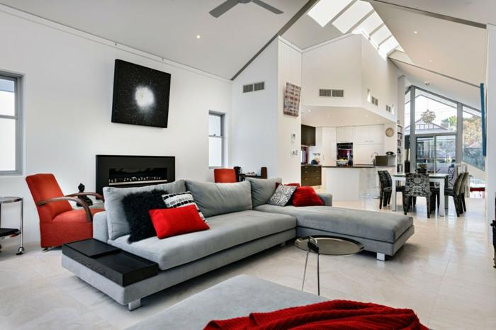roter sessel - 30 faszinierende designs, welche jedes zimmer ... - Sessel Wohnzimmer Design