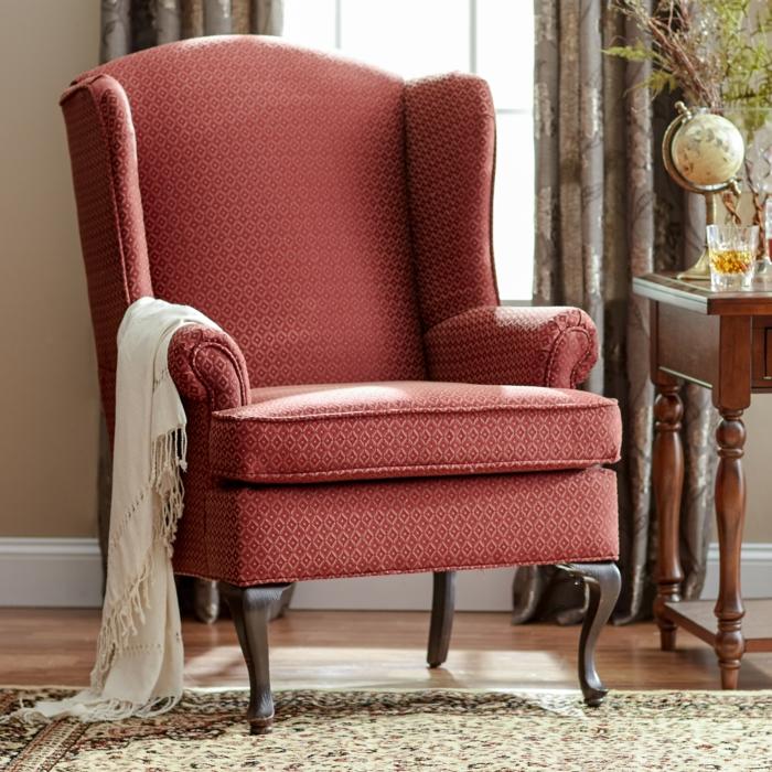 Sessel Rot Muster Wohnzimmer Ideen