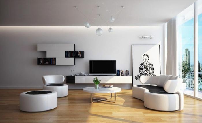 sessel weiß wohnzimmer einrichten wohnwand