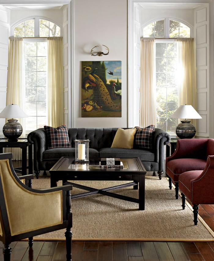 sofa chesterfield dunkelgrau großartig stilvolle wohnzimmereinrichtung