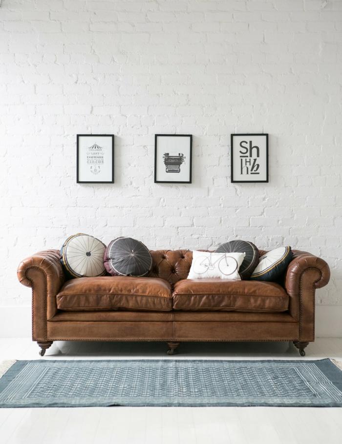 sofa chesterfield leder braun teppich wohnideen