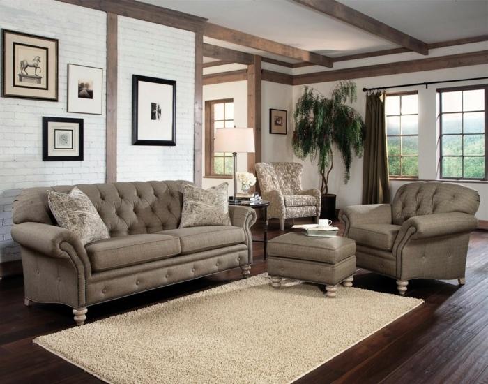 sofa chesterfield sessel wohnzimmermöbel set heller teppich dunkler bodenbelag