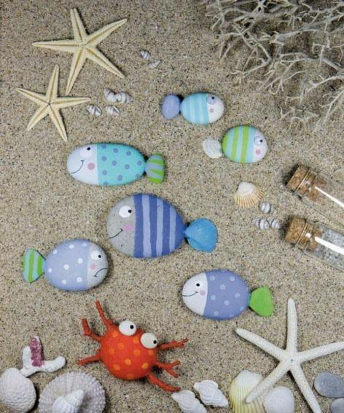 geschenkideen bemalten steine basteln mit steinen strand