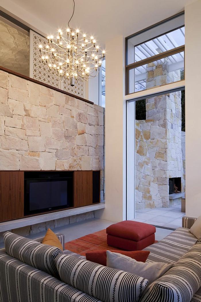 Natur wand im wohnzimmer  Steinwand Wohnzimmer - 43 Beispiele, wie Steine auf das Ambiente ...