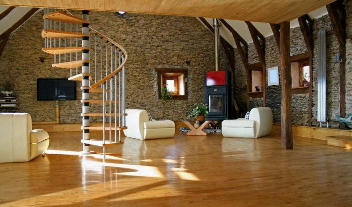 steinwand wohnzimmer innentreppen weiße sessel pflanzen