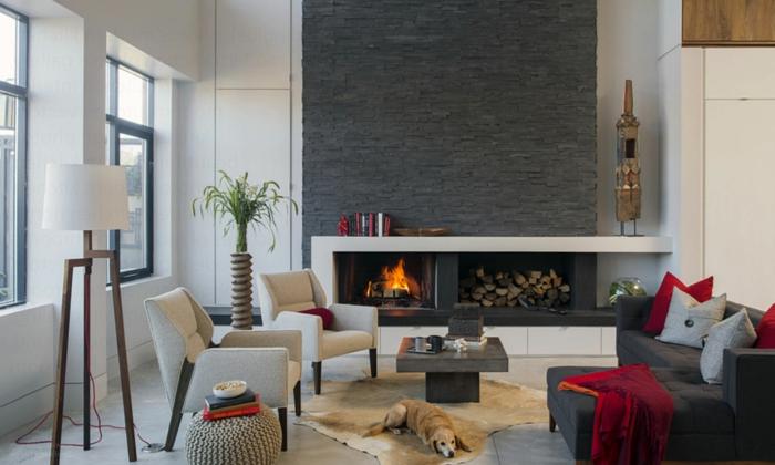 download steinwand im wohnzimmer bilder | villaweb, Wohnideen design