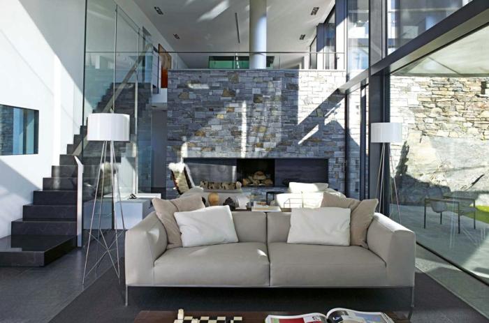 steinwand wohnzimmer 43 beispiele wie steine auf das ambiente wirken. Black Bedroom Furniture Sets. Home Design Ideas