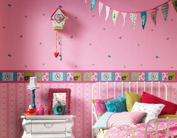 tapete kinderzimmer rosa mädchenzimmer dekoideen farbig
