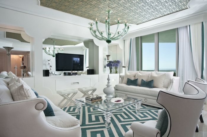 teppich wohnzimmer geometrisches muster weiße wohnzimmermöbel