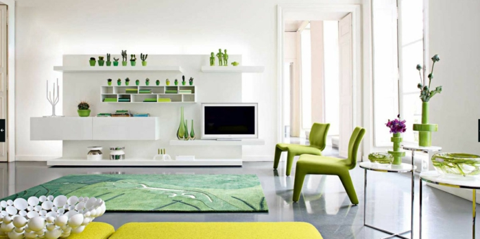 teppich wohnzimmer grüne sessel gelbe elemente