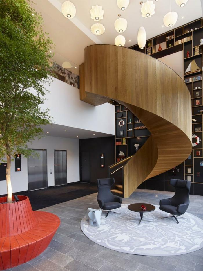 teppich wohnzimmer rund elegant wendeltreppe