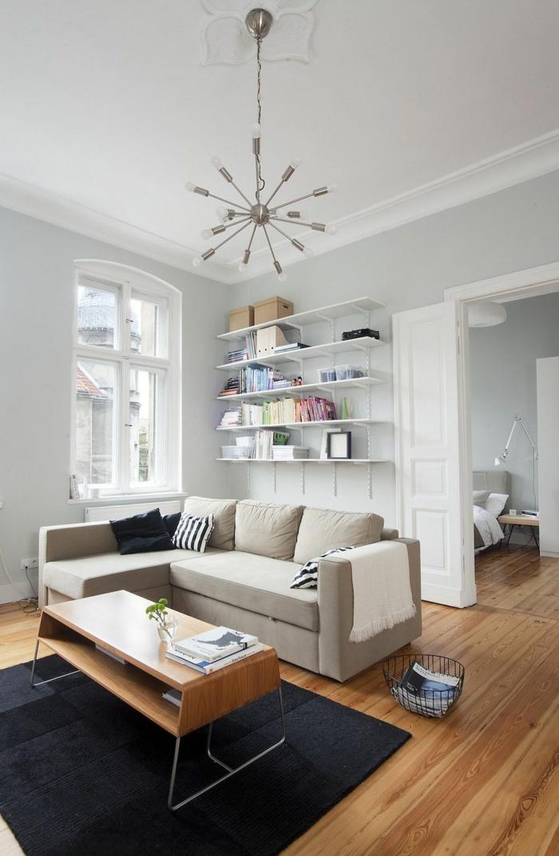 teppich wohnzimmer schwarz retro couchtisch