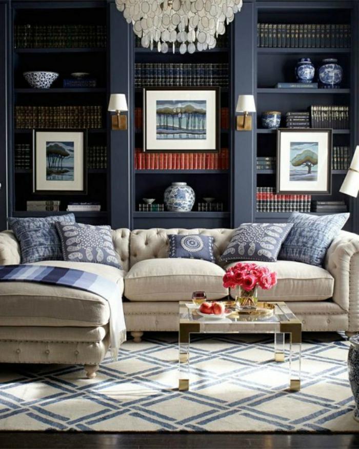 teppich wohnzimmer teppichmuster geometrisch blau akzente