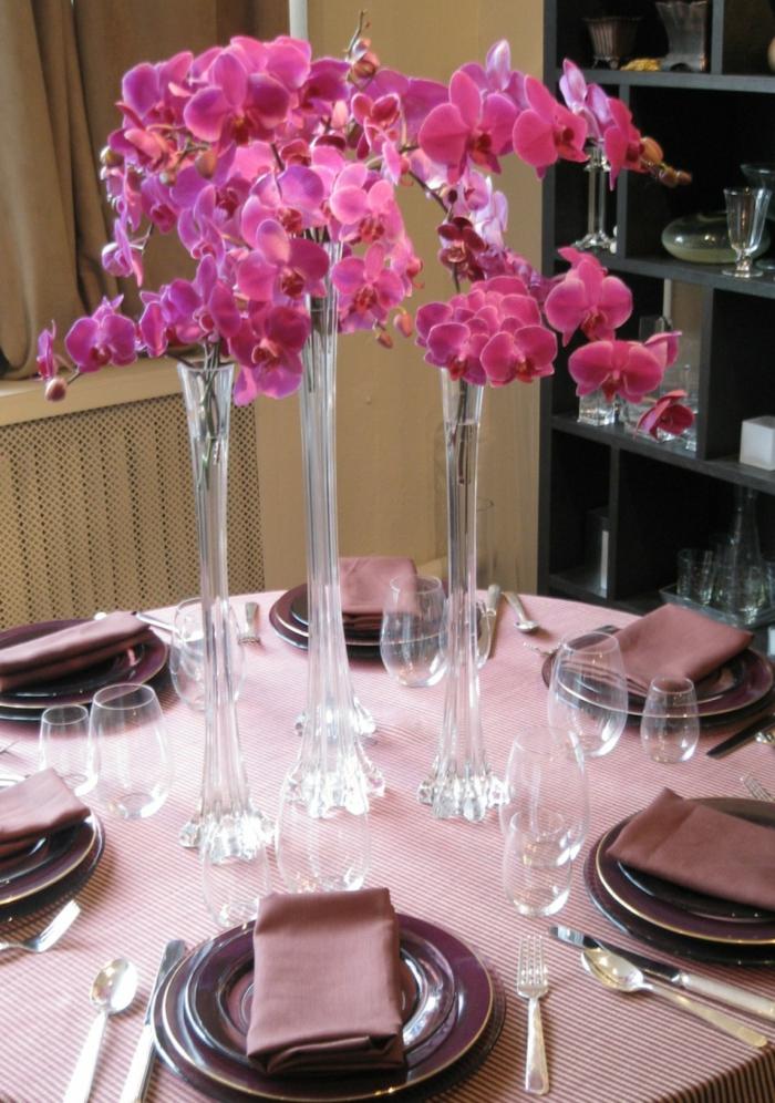 dekoideen tisch frische ideen orchideen lila