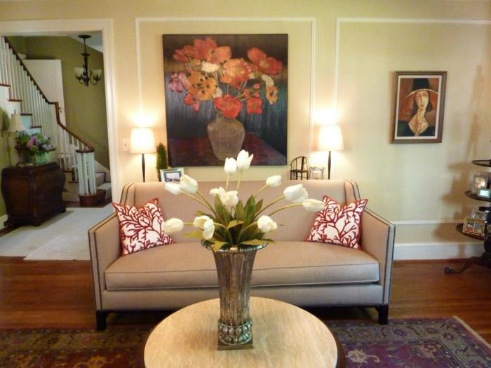 dekoideen tisch stilvolle ideen weiße tulpen