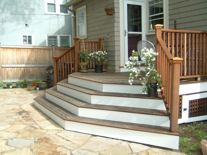 treppen gestalten blumen außenbereich gestalten