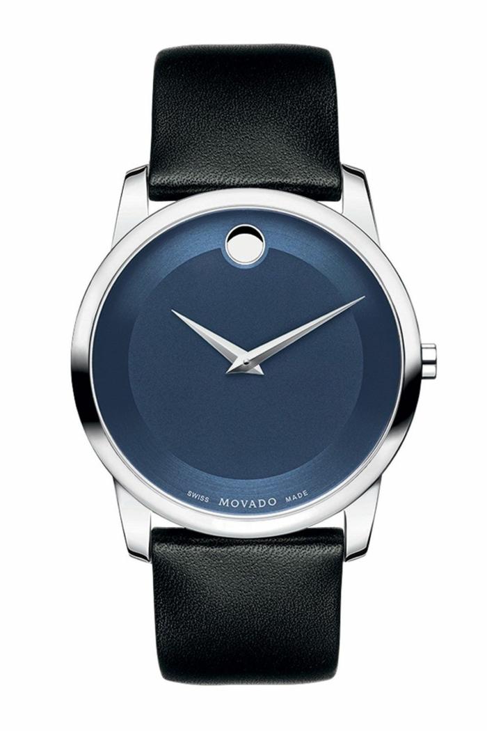 auhrenmarken herren luxusmarke movado modernes design rundes zifferblatt schwarzes leder