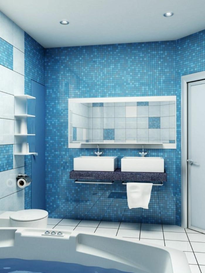 Wandgestaltung bad 35 ideen f r badezimmergestaltung mit for Blaue bodenfliesen bad