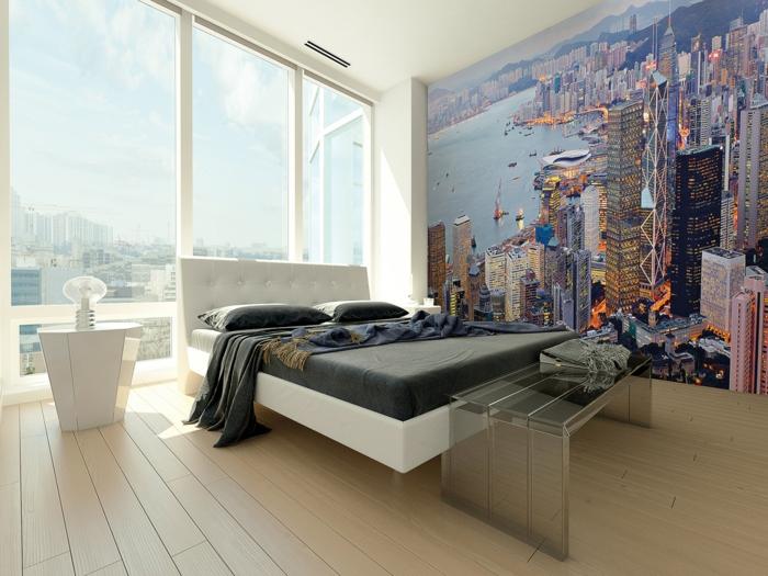 wandtapeten schlafzimmer wandgestaltung ideen schlafzimmerbank panoramafenster