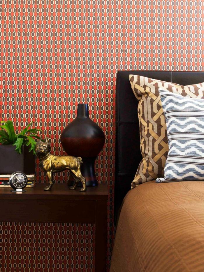 wandtapeten wohnideen schlafzimmer tapete geometrisches muster