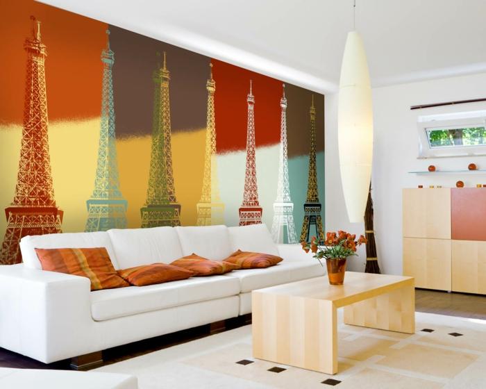 wandtapeten wohnzimmer wände gestalten weißes sofa