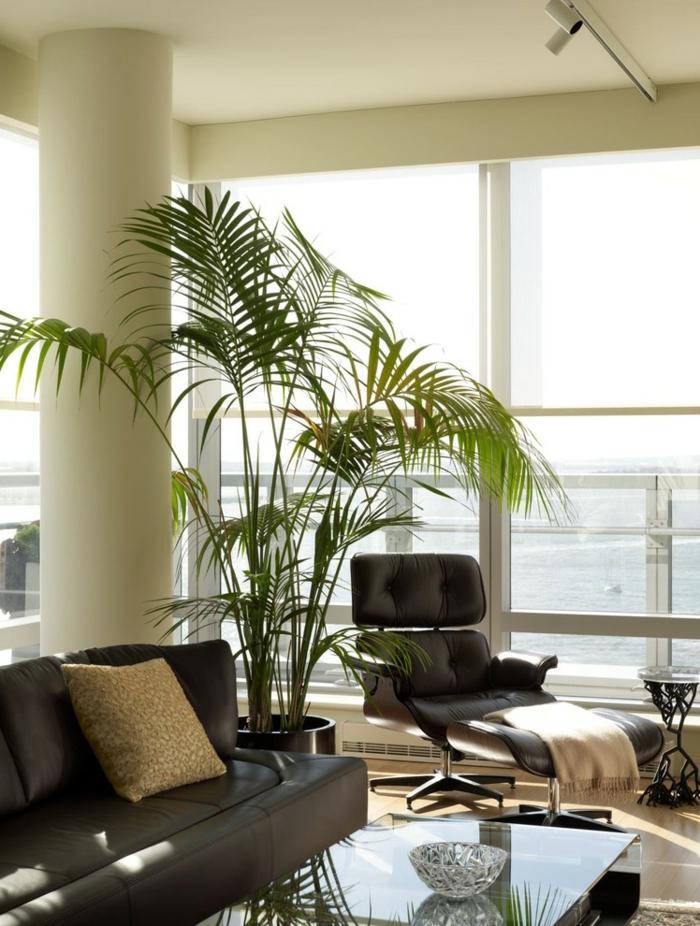 wohnideen dekoideen wohnzimmer topfpflanzen ledermöbel
