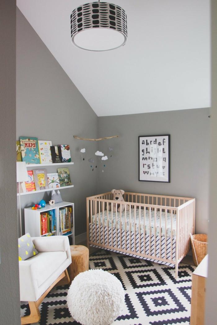 wohnideen kinderzimmer babyzimmer bücherregale teppichmuster
