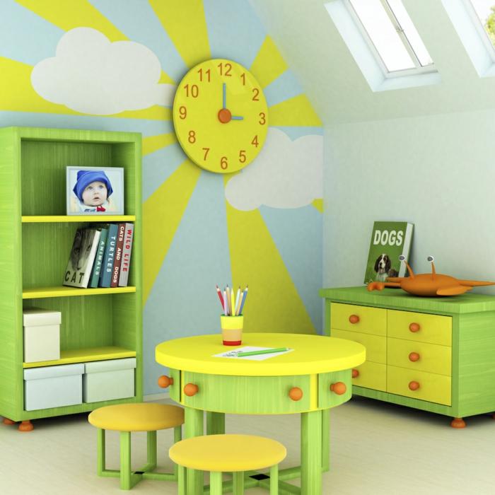 wohnideen kinderzimmer farbige möbel spielbereich