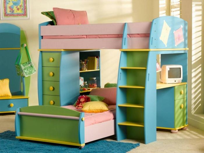 wohnideen kinderzimmer farbige möbel blau grün teppich