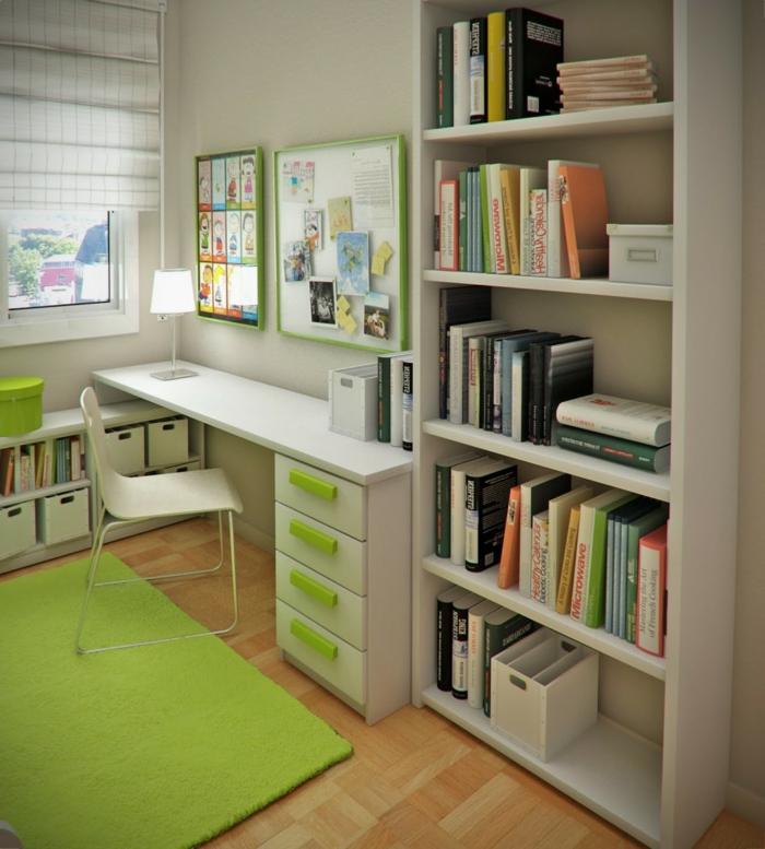 wohnideen kinderzimmer grüner teppich schreibtisch