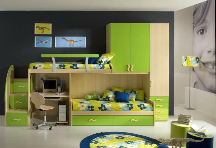 wohnideen kinderzimmer hochbett grüne möbel fototapete