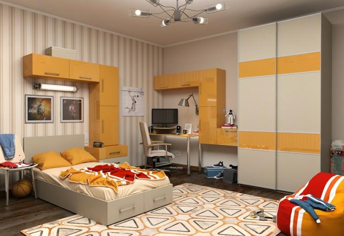 wohnideen kinderzimmer orange akzente geometrischer teppich