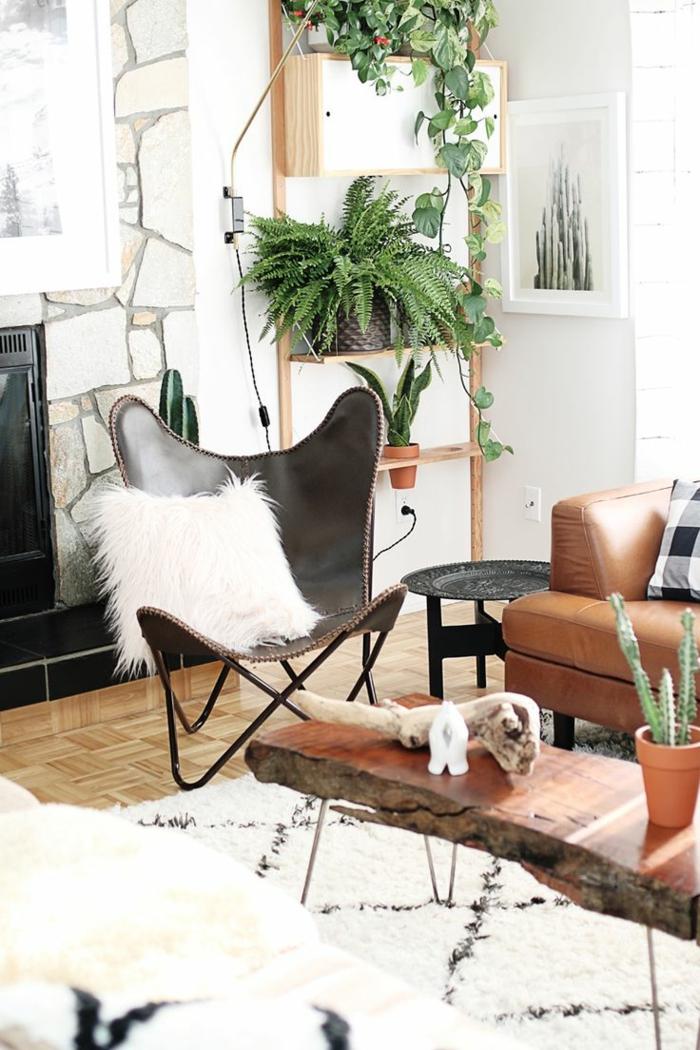 wohnideen wohnung dekorieren weißer teppich rustikaler wohnzimmertisch