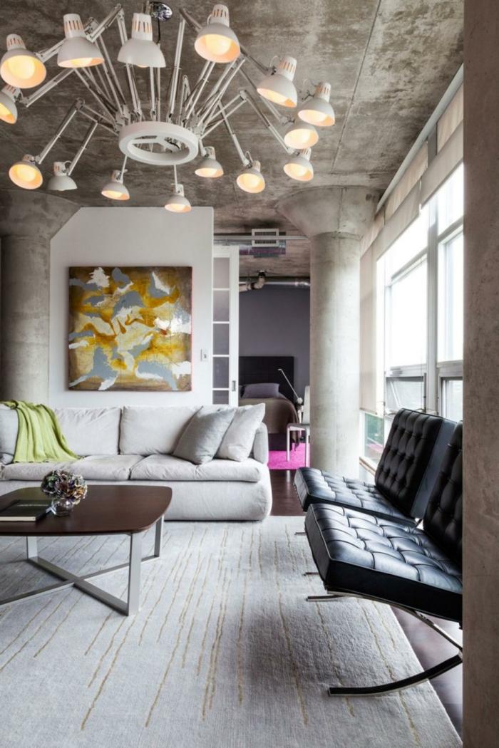 wohnideen wohnzimmer beleuchten eleganter teppich retro sessel
