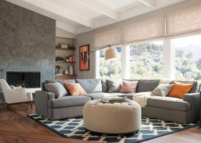 wohnideen wohnzimmer durch- einen teppich den raum erfrischen