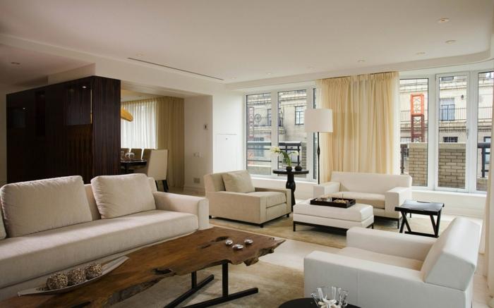 wohnideen wohnzimmer einrichten helle gardinen rustikaler tisch