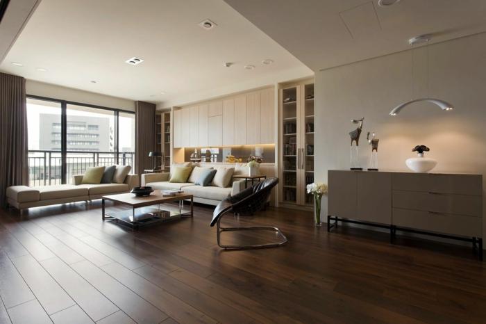 wohnideen wohnzimmer geräumig dunkler bodenbelag helle wände