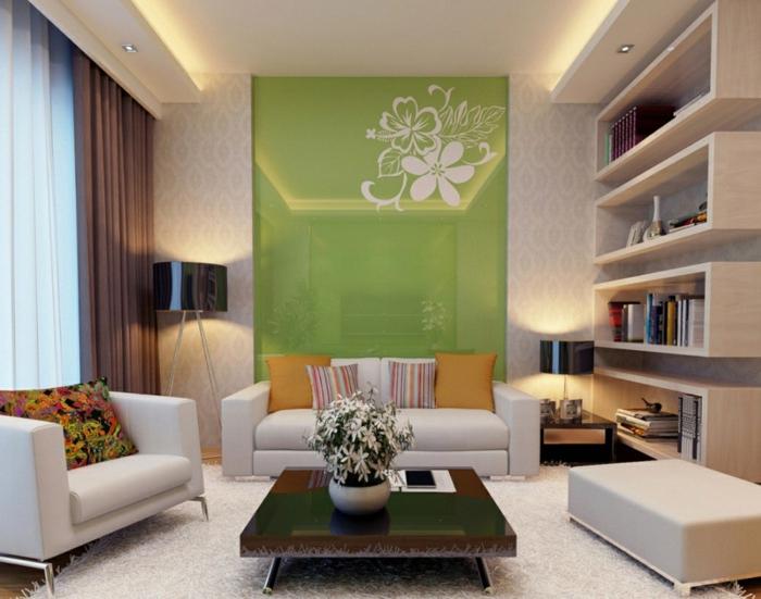 wohnideen wohnzimmer grüne akzente weißer teppich schicke möbel