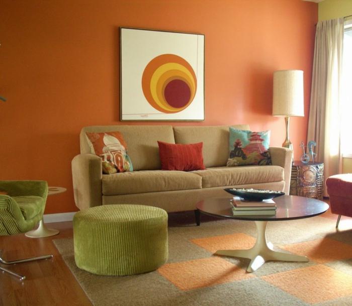 wohnideen wohnzimmer orange wände grüne möbel
