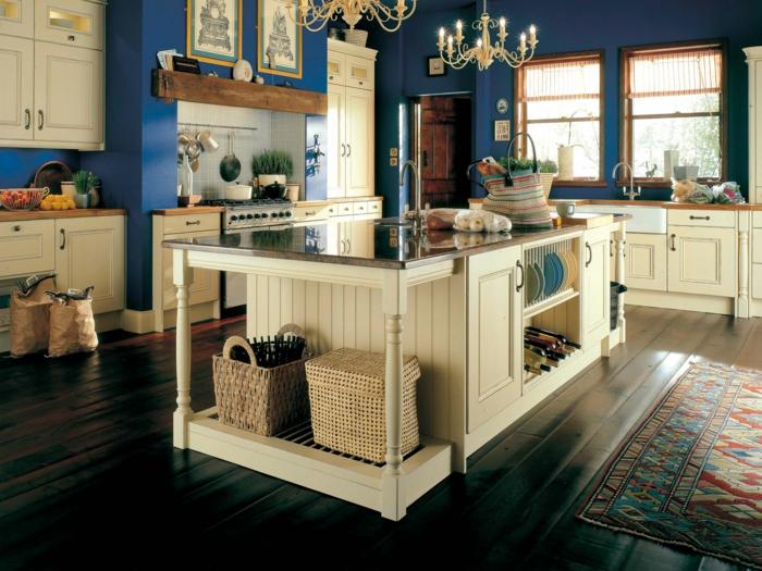 wohnung einrichten küche gestalten blaue wände kücheninsel teppich
