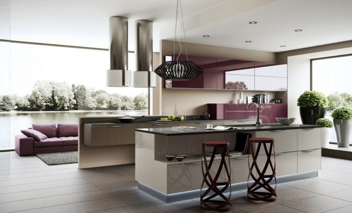 wohnung einrichten offene küche lila akzente coole barhocker