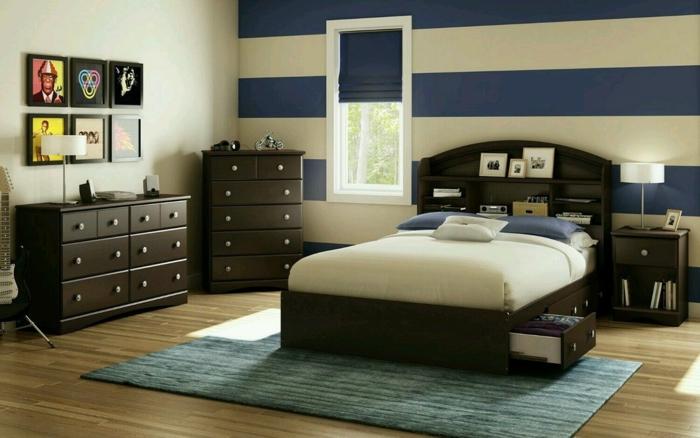 wohnung einrichten schlafzimmer dekorieren teppich akzentwand streifen
