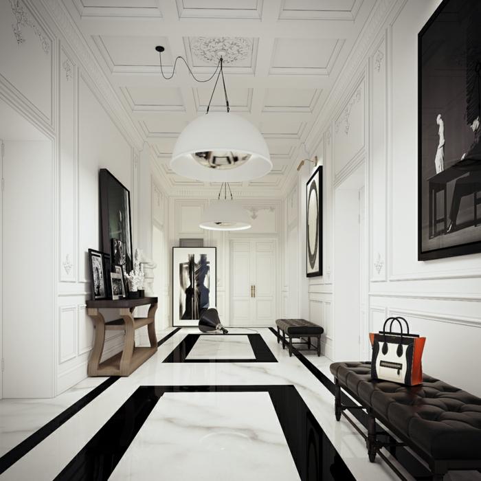 Wohnung Einrichten Weiß Schwarz Wohnideen Flur