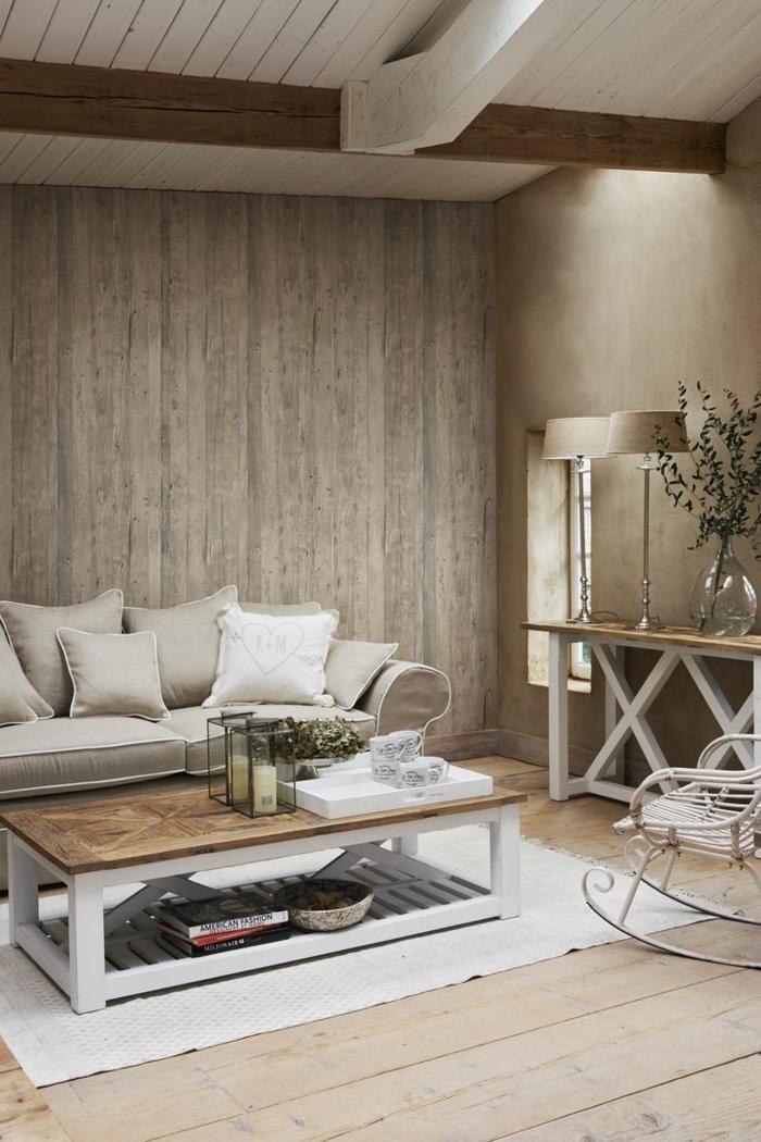 wohnzimmer einrichtung holzdielen wandgestaltung couchtisch sofa kommode