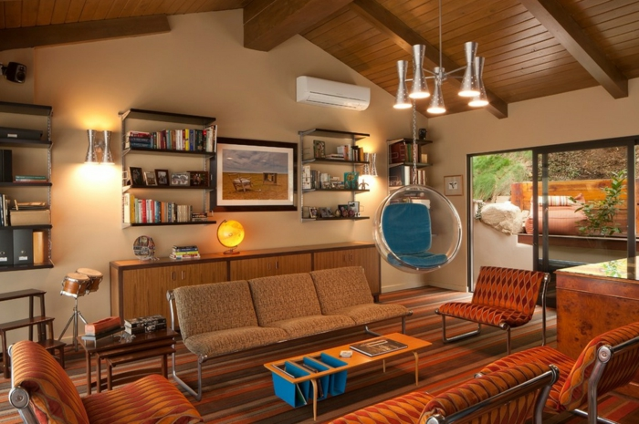wohnzimmer einrichtung sofas polstremöbel retro stil hängesitz rund plastik
