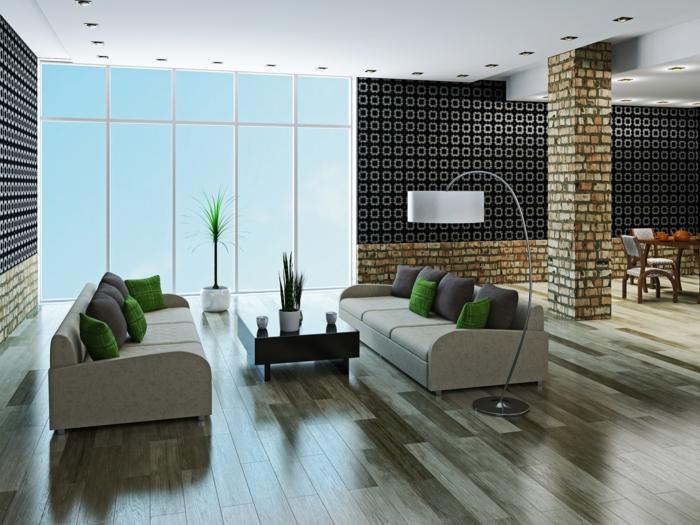 wohnzimmer accessoires bringen leben ins zimmer:wohnzimmer modern einrichten geräumig offener wohnplan einbauleuchten