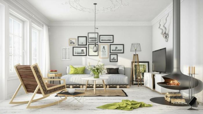 wohnzimmer modern einrichten helles interieur grüne akzente luftige gardinen