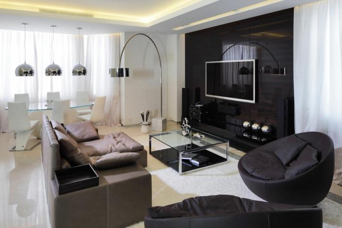 wohnzimmer modern einrichten weißer teppich glastisch